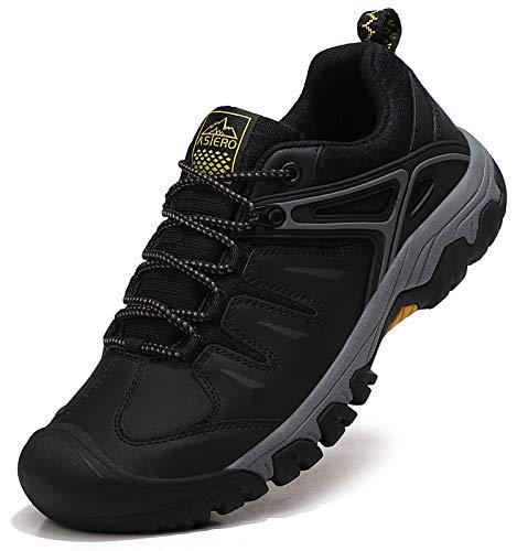 ASTERO Scarpe da Trekking Uomo Antiscivolo Stivali da Escursionismo Arrampicata Scarponi da Montagna Sportive all Aperto Scarponcini Basse Sneakers Taglia 41-46EU (EU, Nero, Numeric_43)