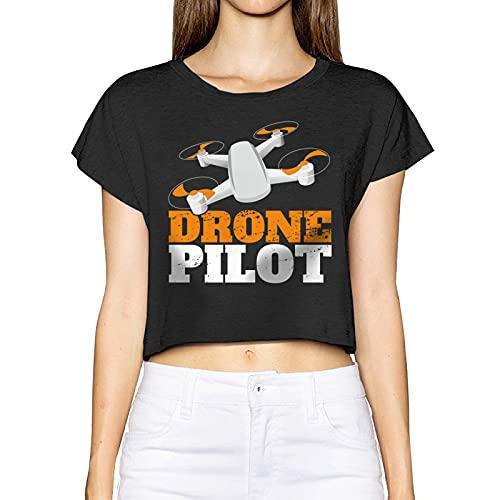 AUDNEDB Drone Pilot Womens Crop Tops carino casual estate manica corta, Nero , M