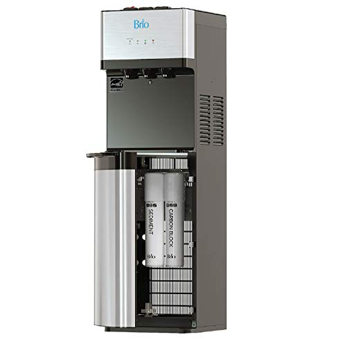 Brio Self Cleaning Bottleless Water Cooler Dispenser with Filtration - Hot Cold and Room Temperature Water. 2 Free Extra Replacement Filters Included - UL/Energy Star Approved