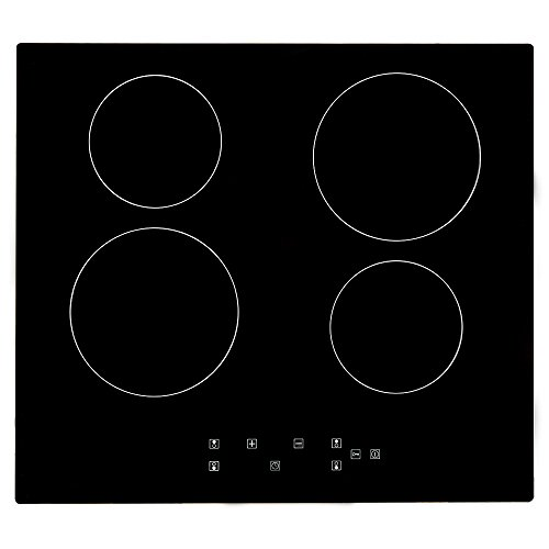 Electric Ceramic Hob, PALDIN 60cm Built-in Ceramic Hob 4 Zones 6000W Electric Cooktop Sensor Touch Controls with heat protection Black(Without plug)