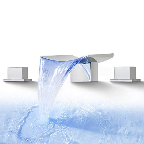 Dr Faucet LED Waterfall Faucet Bathroom Faucet 3 Hole Widespread Waterfall Bathtub Faucet Dual Handle Deck Mount Mixer Tap 8-16 Inch Waterfall Spout, Polished Chrome