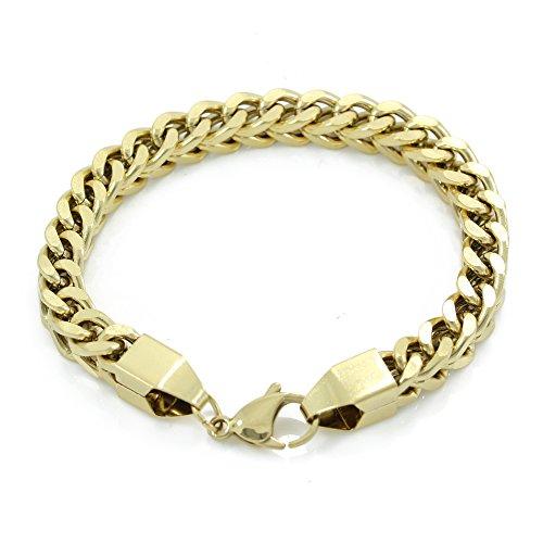Franco-Armband, 8 mm, 21,6 cm, 50 g, schwer, 14 Karat vergoldeter Edelstahl, sieht aus wie echtes Gold.