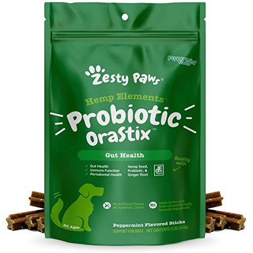 Zesty Paws Probiotic OraStix for Dogs - Dental Sticks with Hemp Seed Curcumin Ginger Root Taurine Supports Gut Function Flora Immune System Proprietary Healthy Teeth Gum Blend 12oz