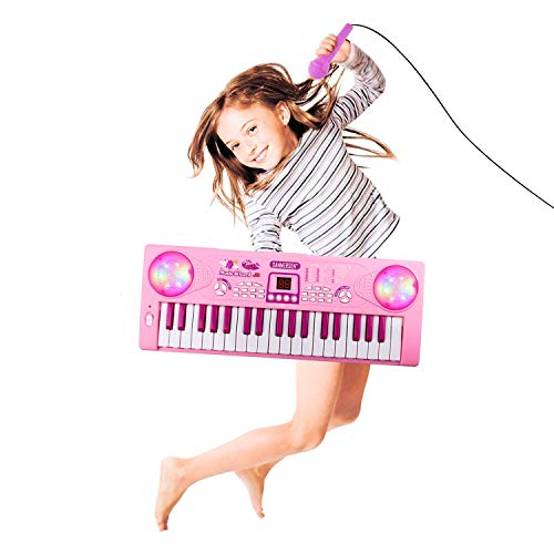 M SANMERSEN Kids Piano with Microphone 37 Keys Piano Keyboard for Kids Portable Kids Piano Keyboard Electronic Toy Piano for Girls Boys Beginners (Pink)