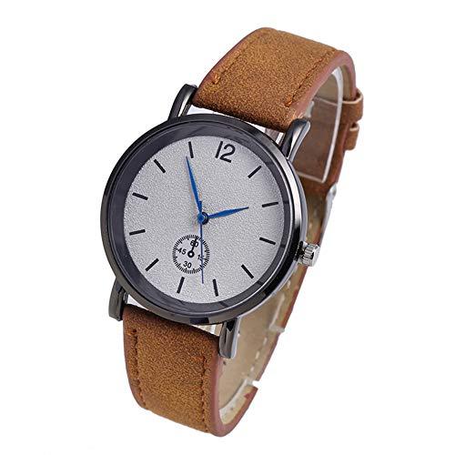 Zerone Reloj De Cuarzo para Mujer, Correa De Cuero, PU, Reloj Redondo Simple(café)