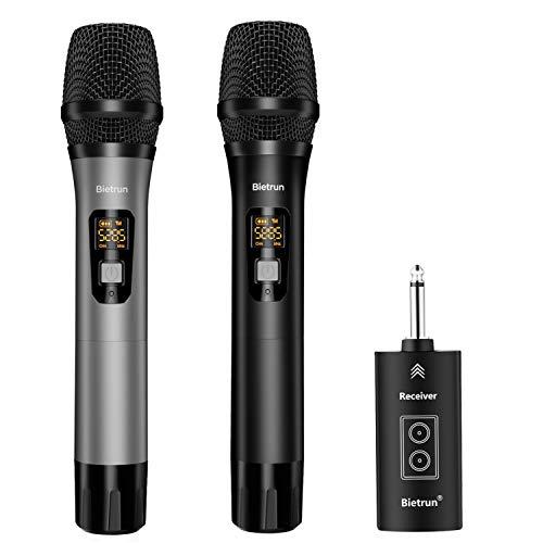 Micrófono inalámbrico con Bluetooth, UHF Wireless Dual Hand Dynamic Sistema de micrófono de metal con receptor recargable, rango de 79,2 m, enchufe de 6,35 mm para karaoke, amplificador, sistema de PA, canto, iglesia
