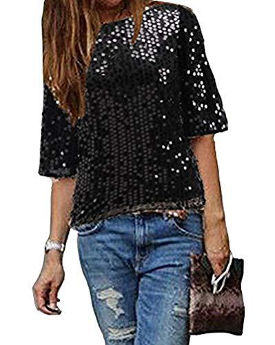 Minetom Maglietta Manica Corta Donna Camicetta con Paillettes Brillanti Elegante Camicia Moda Spalla Obliqua Bluse Tops A Nero 46
