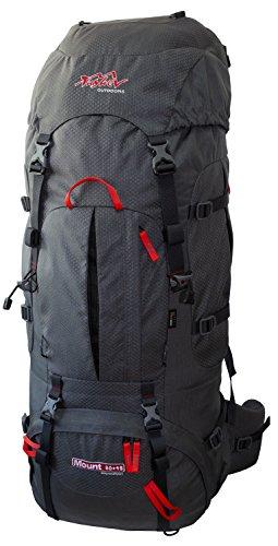 Tashev Outdoors Mount Trekkingrucksack Wanderrucksack Damen Herren Backpacker Rucksack groß 80l Plus 15l mit Regenschutz Grau & Rot (Hergestellt in EU)