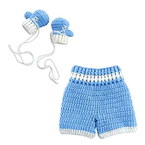 Accesorios de Fotografía para Recién Nacidos Guantes de Boxeo de Punto Pantalones Traje Accesorios para Fotos de Ganchillo para Bebés Ropa Regalo de Baby Shower para 0-4 Meses