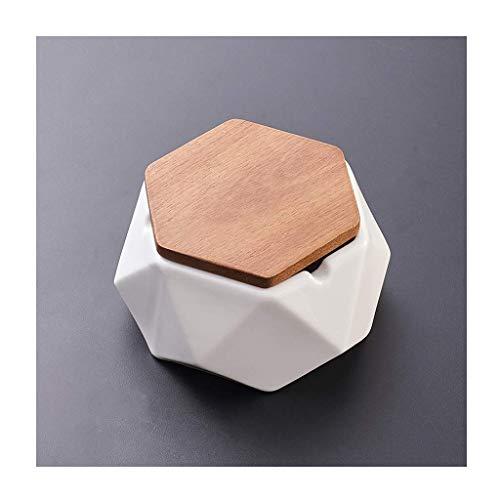 Cenicero cenicero de cerámica con tapa, bandeja geométrica hexágono, cajas de almacenamiento decorativas, soporte para cigarro, oficina, personalidad, verde, cenicero negro para cigarrillos (color: ne