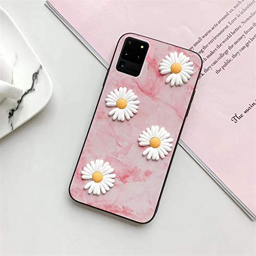 AutoAssem Shockproof Transparent Protective Phone Case Daisy Flower Phone Cover Fit for Samsung Galaxy S20 Plus Ultra s10 s9 s8 lite 5G Slim Silicone Shockproof Protective Back Case Funda de Silicona