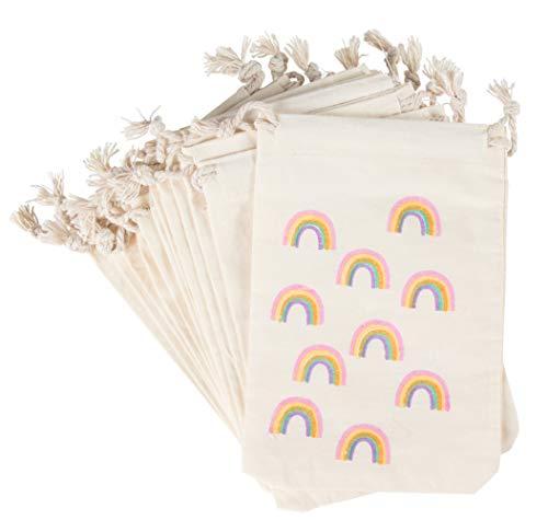 Juvale Bolsas de fiesta – 12 bolsas de regalo de fiesta arcoíris – Mini bolsas de regalo de tela con cordón, cumpleaños de niños, arcoíris con purpurina dorada, 10,2 x 15,2 cm