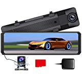 AZDOME 1296P Dash Cam Mirror, 11' Front and Rear View Mirror Dash Cam, Waterproof Rear View Mirror Camera with Sony Sensor, Night Vision,GPS, Parking Assistance, Loop Recording,32G SD Card (Included)