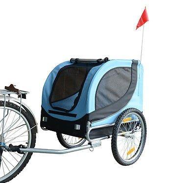Remolque Bicicleta Perros Mascota 1 Bandera 6 Reflectores Remolque Bici Azul Negro