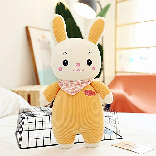Chubby Cute Rabbit Pluche Children's Toy Doll Beneden Cotton Striped Velvet sjaal Rabbit Rag Doll Pillow Vriendin Valentijnsdag cadeau (Size : 65CM)