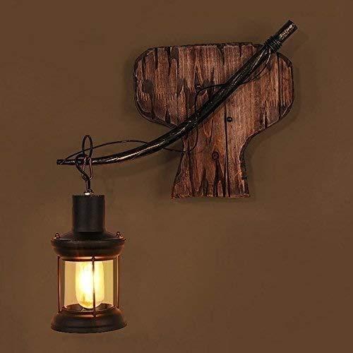 Aaedrag Café Restaurante Bar Bar lámpara de pared de la personalidad americana del estilo de país industrial pared Retro linterna de madera sólida del soporte barco de madera Focos de pared creativo d
