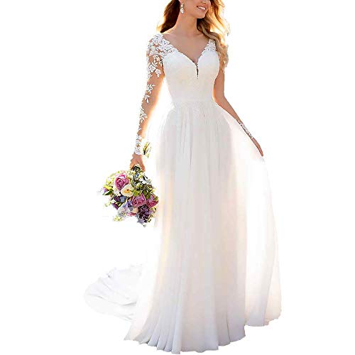 Clothfun Women's V-Neck Lace Beach Wedding Dresses for Bride 2021 aditop Long Sleeve Bridal Gowns Style9 White 2
