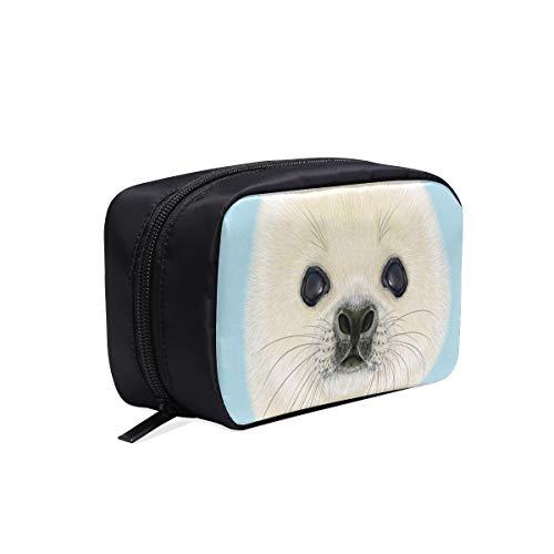 Designer Woman Bags Illustrated Portrait Harp Seal Pup Cute Designer Trousse à maquillage Sac à cosmétiques Sac à cosmétiques Meilleur sac à cosmétiques Sacs à cosmétiques Multifonction Case Sacs à l