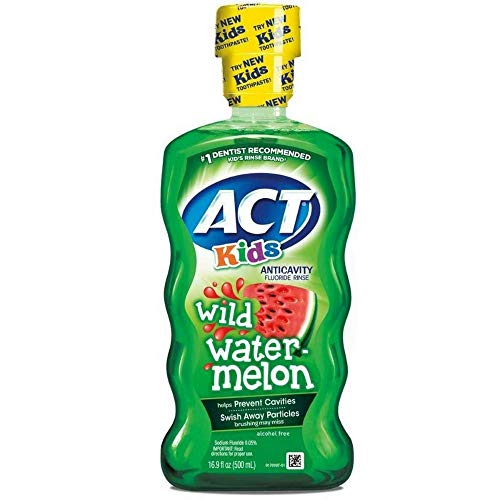 ACT Kids Anticavity Fluoride Rinse, Wild Watermelon 16.90 oz ( Pack of 3)