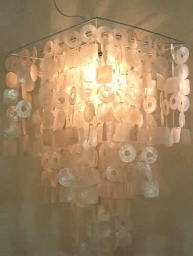 Capiz Perlmutt Muschellampe Leuchte eckig - weiß ca. 70 cm hoch