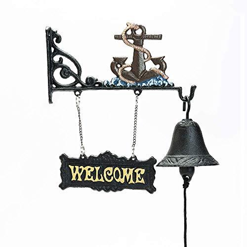 Sungmor strapazierfähig, zum Aufhängen, aus Gusseisen, mit Deko-hand-operated Tür Klingel-Plaketten, Mediterraner Stil, Garten & Haus Dekoration