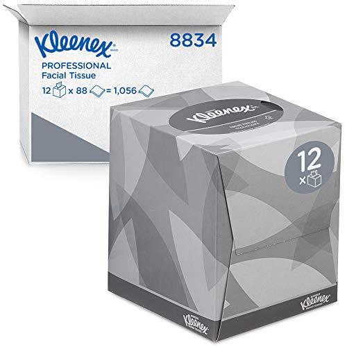 Kleenex 08834060 8834 Caja de Pañuelos Cúbicos, 12 Paquetes de 88 hojas, 2 Capas, Suaves y Resistentes, Sin Fragancia, Color: Blanco