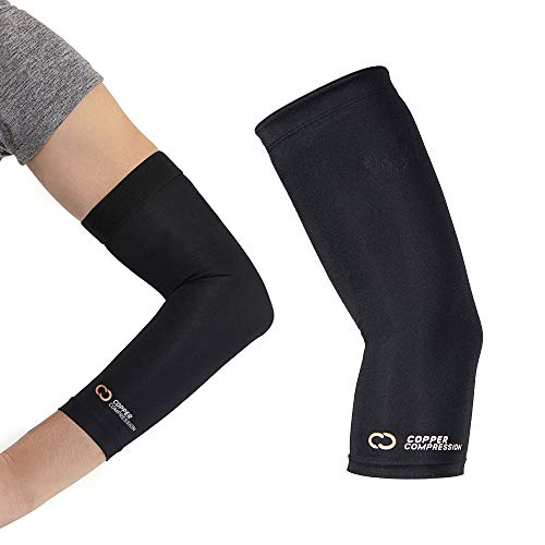 Copper Compression Recovery Elbow Sleeve - Guaranteed Highest Copper Content Elbow Brace for Tendonitis, Golfers or Tennis Elbow, Arthritis. Elbow Support Arm Sleeves Fit for Men and Women (Large)