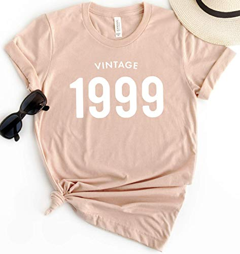 21st Birthday 1999 Vintage T-Shirt Short Sleeve Personalized Gift for Women and Men 90s Tee Shirt