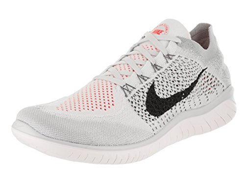 Nike Mens Free Rn Flyknit 2018 Pure Platinum/Black-White-Wolf Grey Size 11 Running Shoes
