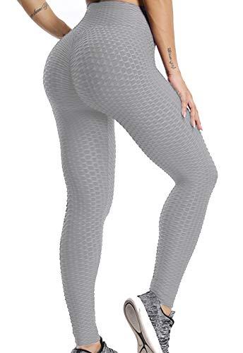 FITTOO Leggings Push Up Mujer Mallas Pantalones Deportivos Alta Cintura Elásticos Yoga Fitness GrisS
