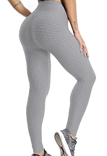 FITTOO Leggings Push Up Mujer Mallas Pantalones Deportivos Alta Cintura Elásticos Yoga Fitness  Gris L