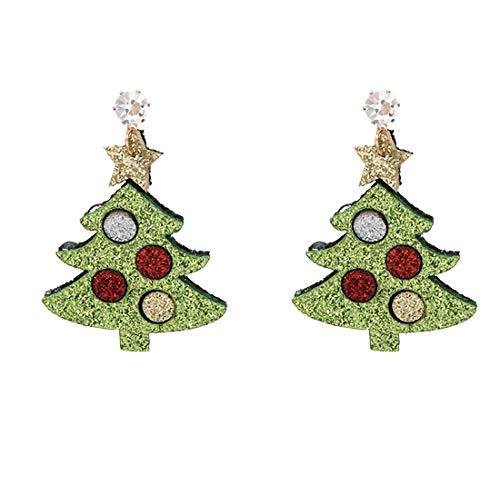 Casa perfecte oorbellen van legering, verzilverd, met bomen in de herfst en winter in Europa en Amerika met kerstmotieven en animaties, kerstversiering, modesieraad, eenvoudig