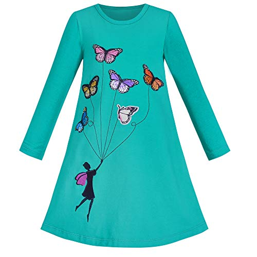 Vestido para niña Manga Larga Azul Mariposa Bordado Casual 8 años