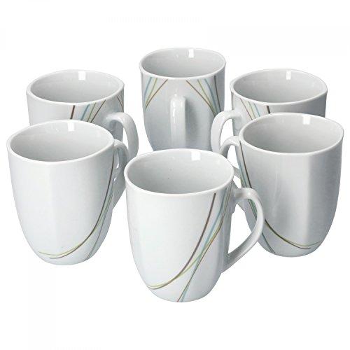 Van Well Aliha 6er Set Kaffeebecher, 330 ml, H 10,3 cm, Kaffeetasse, Liniendekor, edles Marken-Porzellan