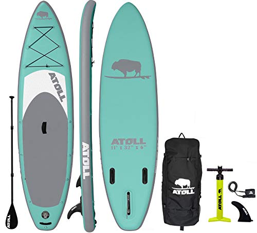 Atoll Inflatable Stand Up Paddle Board SUP, (11ft. x 32in. x 6in.) ISUP, 3 Piece Paddle, Travel Backpack and Leash All Included in This copmlete iSUP Package (Atoll Aqua Marine)