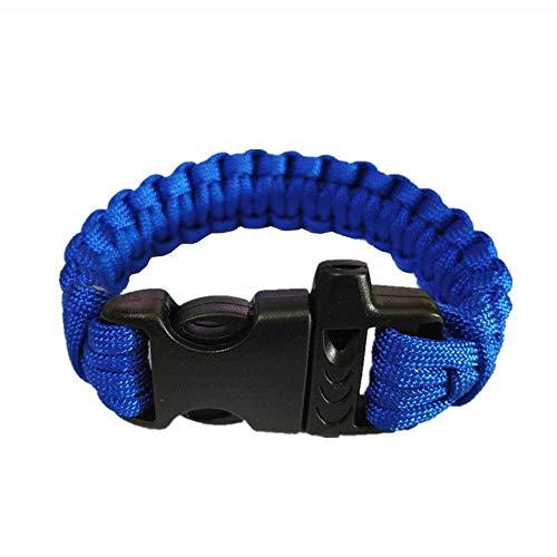 XHLLX 1 Pcs Paracord Survival Bracelet en Plein Air d'urgence De Sauvetage Parachute Corde Bracelet avec Sifflet Et Boucle en Plastique pour Voyager Camping Randonnée,Bleu