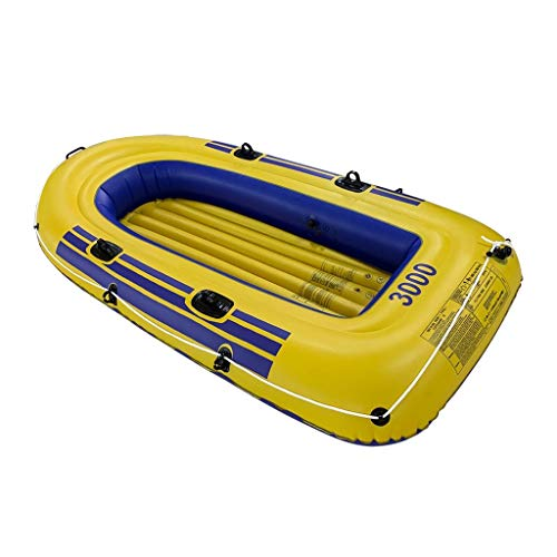 DAmeng ?10 Days Delivery? 8ft Inflatable Boat Series Touring Kayak Explorer Canoe Boat Set 3 Person PVC Inflatable Rafting Fishing Dinghy Tender Pontoon Boat with Paddles and Air Pump,Yellow