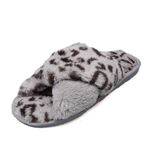 Schuhe Frauen Warm Leopard Plüsch Weiche Hausschuhe Innen Anti-Rutsch-Boden Schlafzimmer (36,Grau)