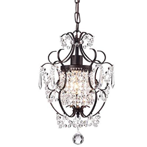 * Hanglamp voor binnen, kroonluchter van smeedijzer-kristal, mini-plafondlamp voor restaurant, eenvoudige kroonluchter voor slaapkamer