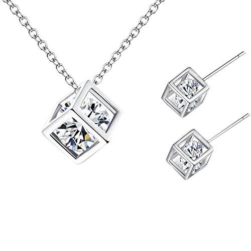 Gespout 1 Juego Joyas Nupciales Pendiente de Circonitas para Mujer Pendientes de Cubo de Rubik Conjunto de Collar