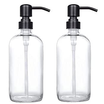 2 Pack Thick Clear Glass Pint Jar Soap Dispenser with Matte Black Stainless Steel Pump 16ounce Clear Boston Round Bottles Dispenser with Rustproof Pump for Essential Oil Lotion Soap