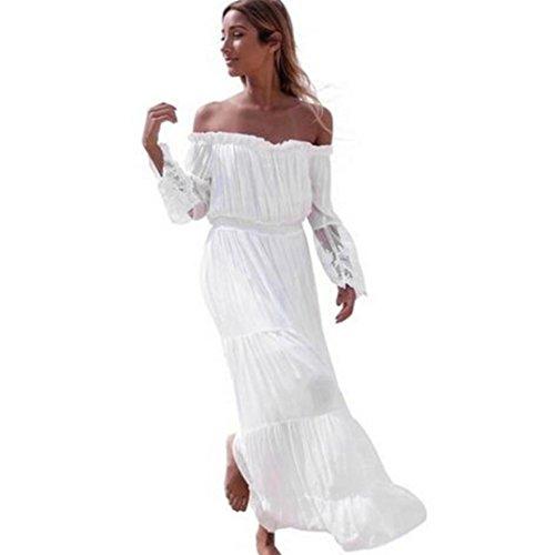 LONUPAZZ Robe Mousseline Dentelle Femme Ete Longue épaules Nues sans Bretelles Manches Longues Casual Robes De Plage (Asian XL, Blanc)