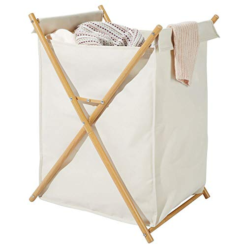 mDesign Sturdy Cloth Laundry Hamper Sorter Cart - Portable and Collapsible Folding Clothes Basket Storage with Removable Polyester Liner Fabric Bag - Durable Metal X Frame - CreamNatural Finish