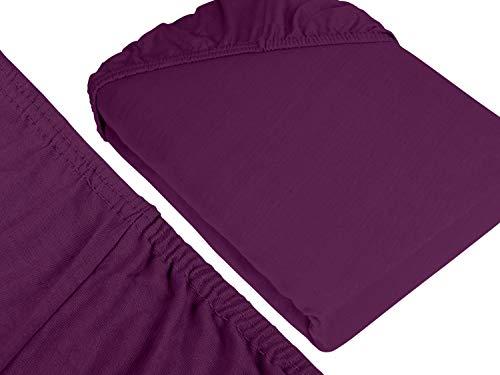 npluseins klassisches Jersey Spannbetttuch – erhältlich in 34 modernen Farben und 6 verschiedenen Größen – 100% Baumwolle, 70 x 140 cm, lila - 3