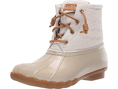 Sperry Womens Saltwater Chevron Quilt Nylon Boots, Ivory, 7.5