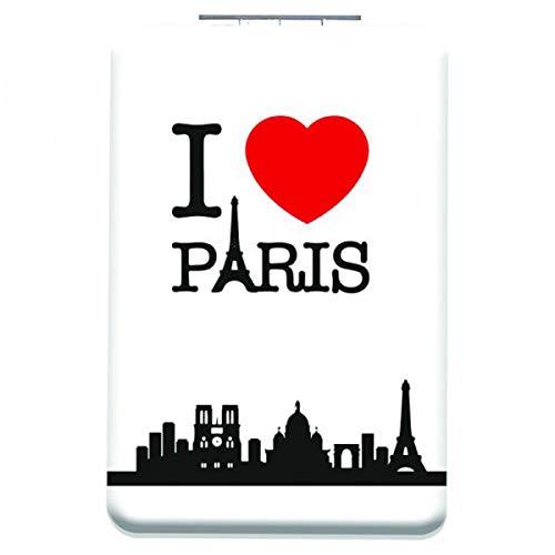 Les Trésors De Lily [Q3111] - Miroir de poche 'I love Paris' blanc - 8.5x5.5 cm