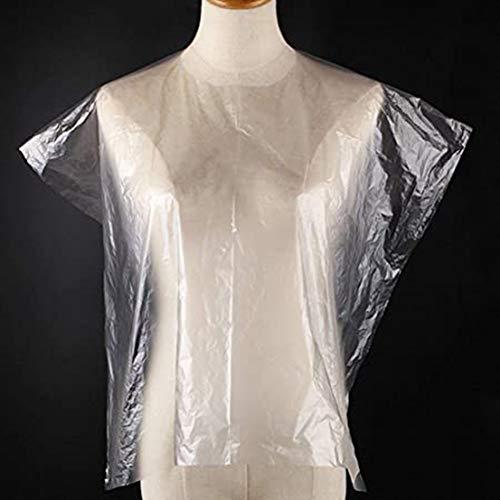 Fengstore Capes de coupe de cheveux jetables imperméables transparentes pour salon de coiffure, 50/100 pièces, quantity :50 PCS