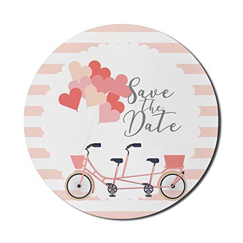 Fahrrad-Mauspad für Computer, romantisches Tandem-Fahrrad mit Herzballons und Save The Date-Schriftzug, rundes, rutschfestes, modernes Gaming-Mousepad aus dickem Gummi, 8 'rund, erröten mehrfarbig