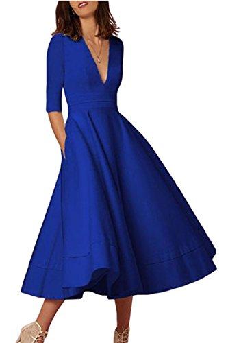 YMING Frauen Midi Kleid Einfarbig Knielang Kleid Cocktailkleid Midi Partykleid Saphir S DE 36 38