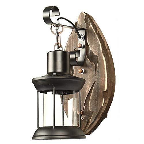 E27 Aplique De Pared Industrial Vintage Lámpara Edison Apliques Retro De Loft Metal Negro Barco Viejo Madera para Casa Bar Restaurantes Cafetería Club Lámpara De Pared